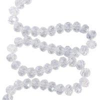 Facet 8x6mm | crystal | pearl shine coating | pakje van 68 stuks