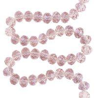 Facet 8x6mm | peach pink | pearl shine coating | pakje van 68 stuks