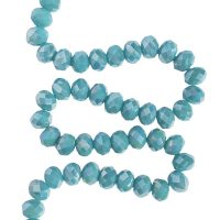 Facet 8x6mm | turquoise-green | pearl shine coating | pakje van 68 stuks