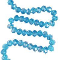 Facet 8x6mm | turquoise | pearl shine coating | pakje van 68 stuks