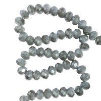 Facet 8x6mm | olive-grey | pearl shine coating | pakje van 68 stuks