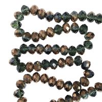 👍 Bestel Facet 8x6mm | moss green | copper coating | pakje van 68 stuks online bij Seasidebeads 👍 - levering in 24u en gratis va 50€ - veilige betaling - kortingen - 😊 superservice met de glimlach
