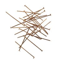 Head pin 30x0,7mm | stamped head | gold | basic quality | 10 gr = +- 106 stuks