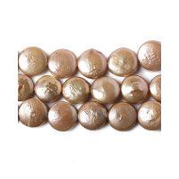 Freshwater pearl | coin 10mm | dark cream || pakje van 6 stuks