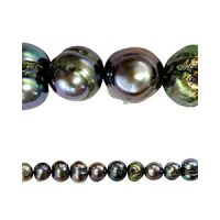 Freshwater pearl | potato 4mm | anthracite | | pakje van 40 stuks