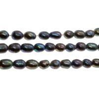 Freshwater pearl | rice 3x4mm | peacock blue | | pakje van 40 stuks