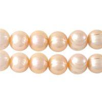 Freshwater pearl | round 10mm | cream peach | | pakje van 10 stuks